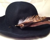 Earthy browns feathers hat pin with a brass cone and a bone bead hatpin