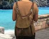 Daphne backpack in stonewashed brown-gray canvas like MICHAEL