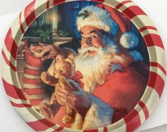 Santa Cookie Tin Platter Night Before Christmas
