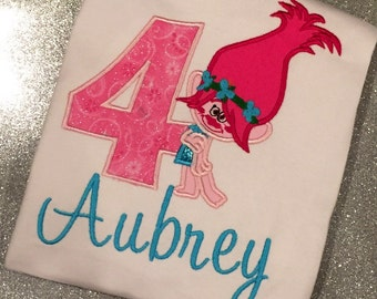 Personalized Boutique Troll Birthday Shirt