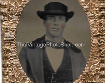 Digital Vintage Photo Tintype Tinty Cheeked Man