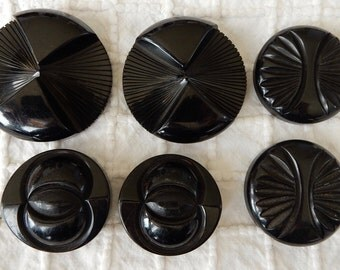 6 Large Carved Black Bakelite Coat Buttons Metal Loop Shank Lot 1   NDT26
