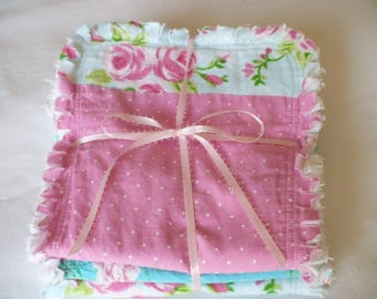 Baby Girl Burp Cloth Set of 3- Shabby Pink Roses on Aqua Blue Dots Gingham Plaid Chenille Rag Quilted