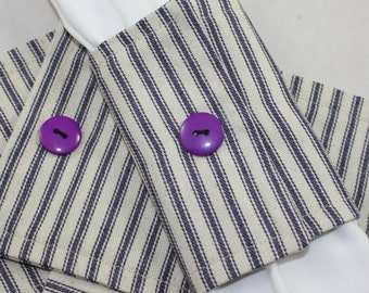 Table Napkin rings in Blue Timeless Ticking Fabric with snaps and purple button 8 pieces