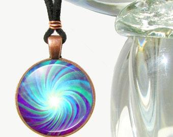 Chakra Pendant, Reiki Jewelry, Energy Art Pendant Necklace, Blue Swirl
