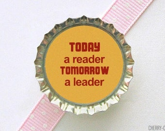 Book Reader Bottle Cap Magnet - book theme baby shower favor, book lover gift, for book lover, book magnets, librarian gift, book club gift