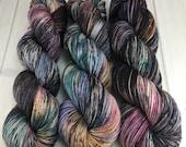 "RTS- Sock, ""Dark Secret"", Hand Dyed, Superwash Merino Wool, Nylon, Fingering, Knitting, Crochet"