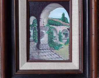 California Mission - Original Painting by Nico Diemel - Spanish Mission - Old Mission painting - Oil / Acrylic / Painting - Wood Framed