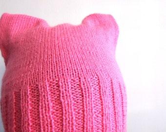 pussycat hat, knit cat hat, pink cap, pink knit hat