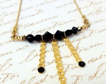 SALE - Unique Gift For Her, Gold Black Necklace, Black Dimond Necklace, Swarovski Necklace, Onyx Gemstone Necklace
