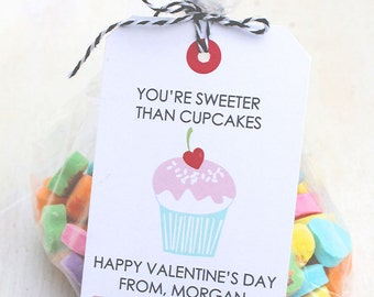 You're Sweeter Than Cupcakes   Punny Valentine's   Classroom Treat Labels   Valentine's Day   Printable   Hearts   Cupcake   School Party