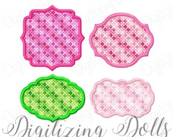 Applique Frame Set 1 - Set of 4 Embroidery Design Digital Files 3x3 4x4 5x5 Font Patch Monogram Mono Name DIY ith INSTANT DOWNLOAD