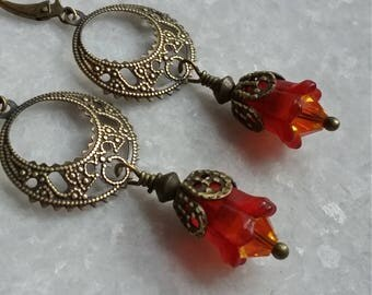Red Blossom Earrings For Spring // Swarovski Crystal // Nouveau Brass Filigree // Vintage Inspired // Red Lucite Flowers // Gift For Her