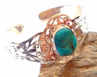 Arizona Turquoise Sterling Silver Cuff Bracelet earthegy #2143
