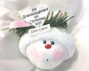 My Granddaughter's 1st Christmas Ornament 2017 Personalized Hand Painted Handmade Themed Townsend Custom Gifts - F