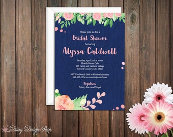 Bridal Shower Invitation - Watercolor Flowers with Paint Dots