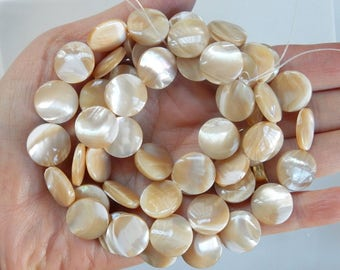 15mm Tan color mother of pearl coin beads , FULL STRAND (15.5 inches)