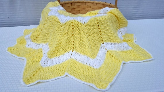Yellow baby blanket,  baby afghan,  twelve-point star lapghan for wheelchairs