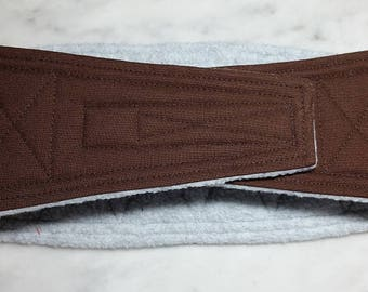 Belly Band Waist 15.50 x Width 4.00 inches Male Dog Belly Band Wrap Diaper Belt by SewDog 3 Layers Quilted Padded Wrap #426 CHOCOLATE BROWN