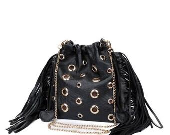 Black Gold Fringe Tassel Handbag Clutch Purse Woman