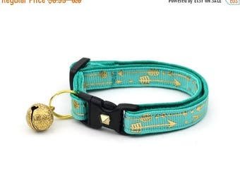 ON SALE Arrow Cat Collar - Metallic Gold Arrows on Turquoise - Small Cat / Kitten Size or Large Size - Woodland - Boho - Teal