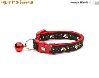 ON SALE Unicorn Cat Collar - Unicorns and Rainbow Stars on Black -Small Cat / Kitten Size or  Large Size Collar