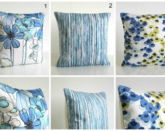 Designer Pillow Cover, Cushion Cover, Pillow Sham, Throw Pillow Cover, Accent Pillow, Pillowcase, Florals and Stripes - Blue Collection