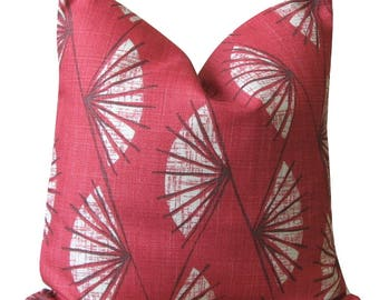 Red cushion cover, 18 inch Pillow Cover, Linen Viscose Pillow Sham, Pillowcase, Throw Pillow Cover, Scatter Cushion  - Abstract Fan Red