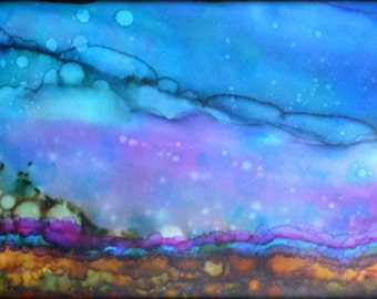 Abstract Landscape - Original Alcohol Ink Painting - 24 x 12  x .50