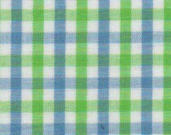 Fabric Finders Green, Blue, White Check print - plaid - tri-check gingham – T21 - cotton sewing quilting fabric - choose your cut