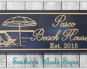 Beach House Sign, Established Sign, Last Name Sign, Shore House Sign, House Warming Gift, Carved Wood Sign, Custom Wooden Sign, B100
