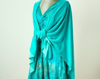 light jade aquamarine green hand dyed silk velvet longer ruana wrap shawl cape