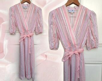 Sweet 80s Pink Pastel Striped Slightly Sheer Shimmery Deep V Neck Midi Dress by Leslie Fay size Medium
