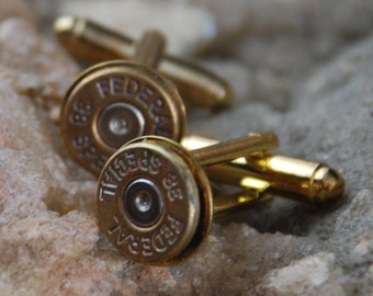 25% off SALE see welcome page for details Beautiful Pair of Steampunk 38 Special Bullet Cuff links CL 44