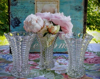Vintage Clear Glass Vases / Great Gatsby Wedding / Shabby Chic / Pressed Glass Vases / Wedding Vases / Depression Era Bubble Vase