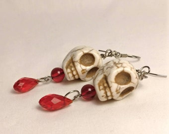 Severed Head Skull Earrings with Red Beads