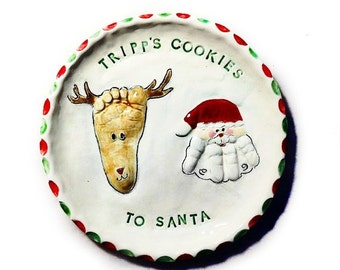 Personalized Christmas Cookie Plate - Santa Plate  - Personalized Christmas Plate - Baby Christmas Plate - Cookie Plate - Santa Cookies