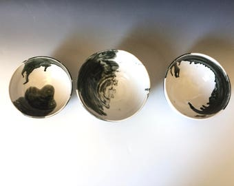 Black and White Bowls, Set of Three Modern Bowls for Home Living and Entertaining, Kitchen and Dining at its Best!