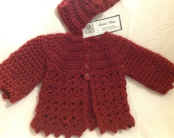 Maroon sweater cardigan handmade newborn to six months  headband. Free baby blanket perfect for car seat