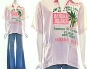 Rare Vintage 60s Banana Island Top Flour Sack Shirt St. Lucia West Indies Caribbean United Fruit Company Cotton Shirt OOAK Unisex S M L