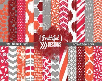 Digital Valentine Paper Pack  - Personal and Commercial Use - Valentine Lovin