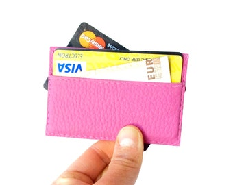 Vegan leather credit card holder, pink credit card case, womens credit card holder, pink credit card sleeve, vegan wallet, choose your color