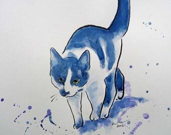 Cat Art Watercolor Original Animal Painting