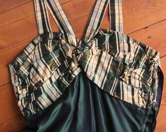 Vintage 1940s Green Plaid Taffeta Formal Prom Dress