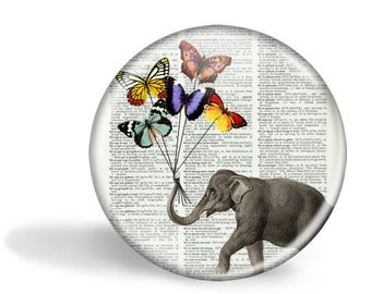 Elephant with Balloons Pocket Mirror Elephant with Balloons Magnet Elephant with Balloons Button Pin HHP Original Gift Under 5