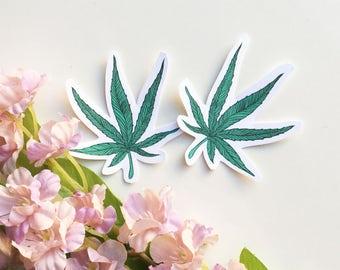 Small Miniature Marijuana Pot Leaf Sticker, Water Bottle Sticker, Laptop Sticker, Limited Edition Weed Sticker, Notebook Sticker, Planner