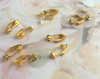 Earring Converters, Gold  Plate, Lot of 5 pair, From Pierced to Clip-ons, Gift Idea, Gift 4 Her, Jewelry Supply, 18x8mm, Jewelry Making