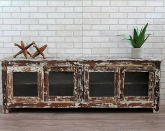Vintage Media Console TV Stand Reclaimed Industrial Cabinet Long and Low Sideboard Storage Bench Window Bench Loft Furniture
