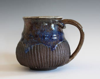 Stoneware Pottery Mug,  15 oz, Pottery Coffee Mug, Handthrown Ceramic Mug, Unique Coffee Mug