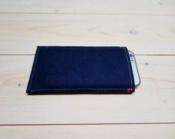 SALE iPhone 7 or 6 case sleeve dark navy blue merino woolfelt with red detail sale